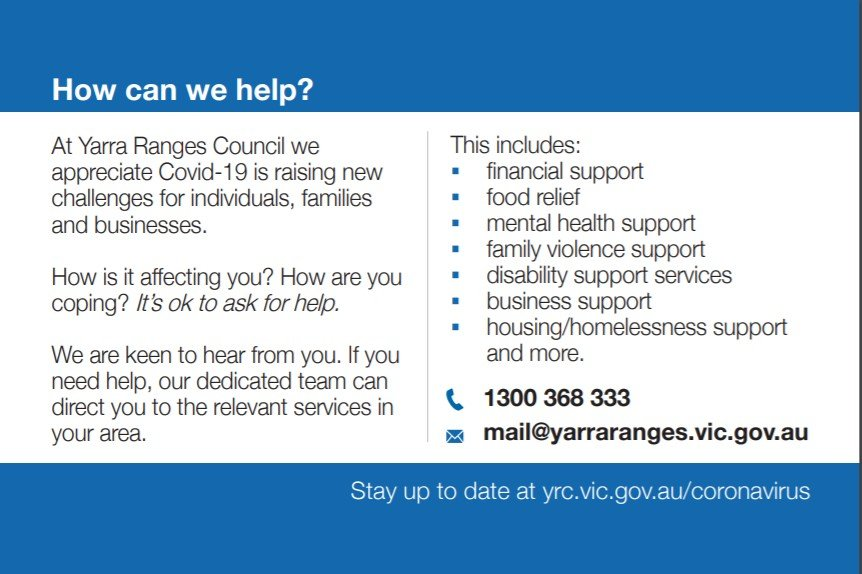 Support from Yarra Ranges Council